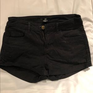 Low-Rise Black Denim Shorts